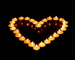 Candles in a heart shape