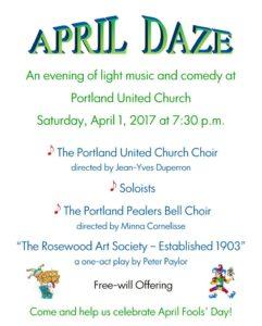 "Portland United Church - ""April Daze"" a fun evening of music and comedy! @ Portland United Church | Portland | Ontario | Canada"