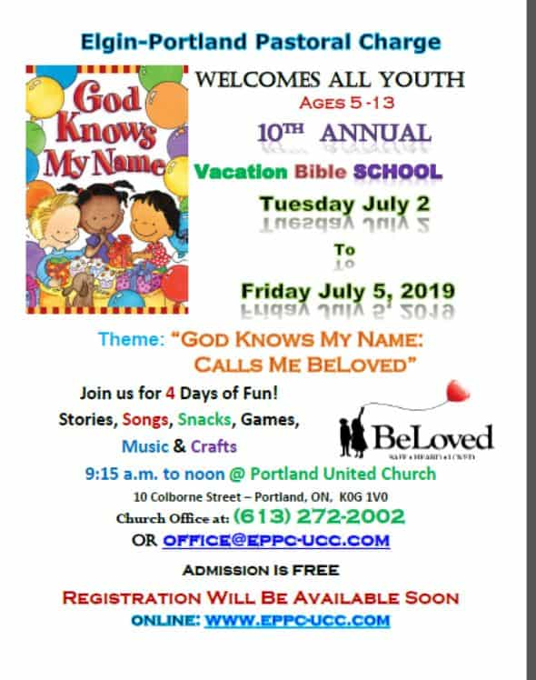 """10th  Annual Vacation Bible School - """"God Knows My Name: Calls Me Beloved"""" @ Portland United Church 