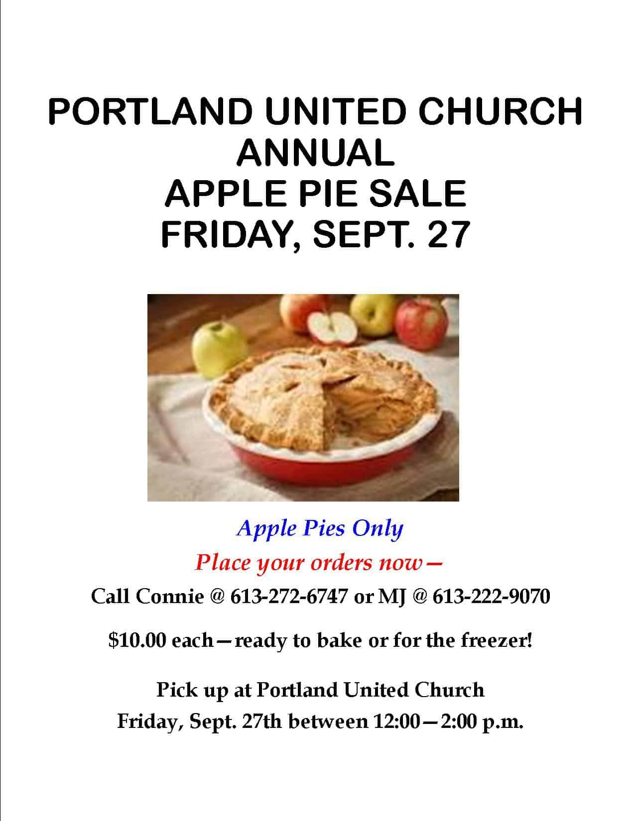 Portland United Church Women - Apple Pie Sale @ Portland United Church