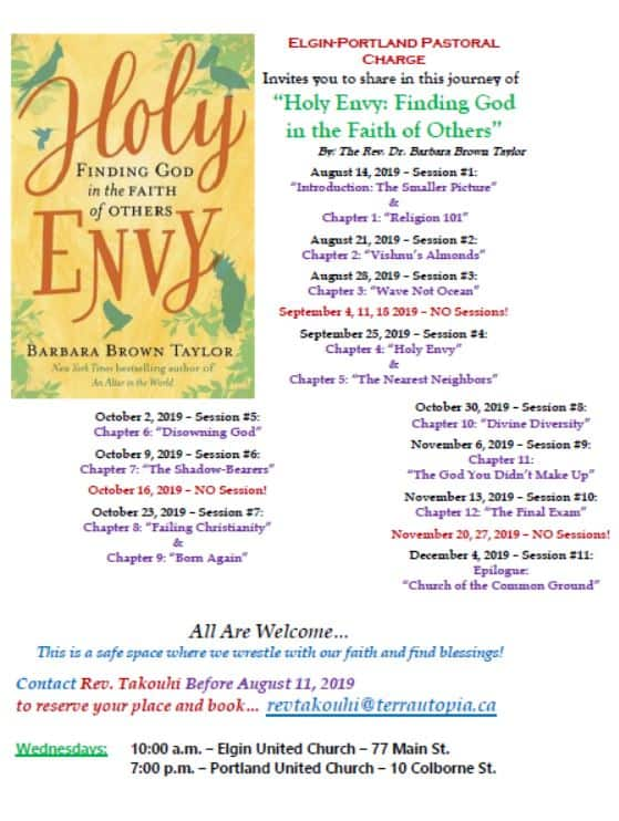 V.I.B.E. - Venturing in Biblical Education - Holy Envy: Finding God in the Faith of Others @ Elgin United Church